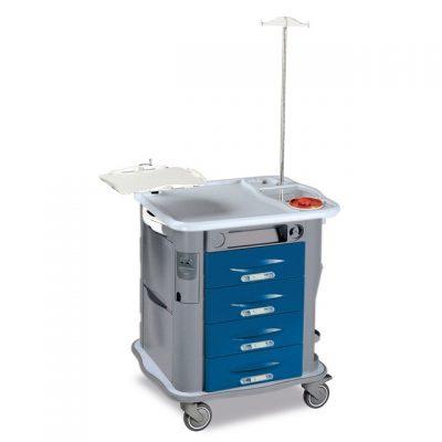 CARRELLO AURION EMERGENZA - con asta porta flebo e lastra trasparente massaggio cardiaco - blu