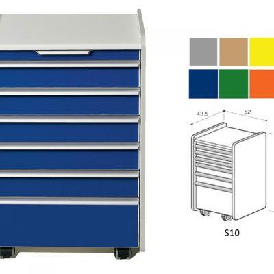 CASSETTIERA S10 - colore a richiesta (grigio beige giallo blu verde arancione)