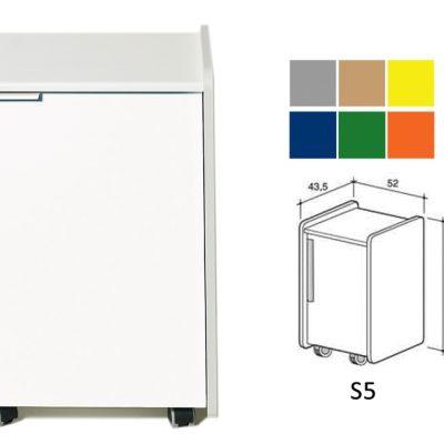 CASSETTIERA S5 - colore a richiesta (grigio beige giallo blu verde arancione)